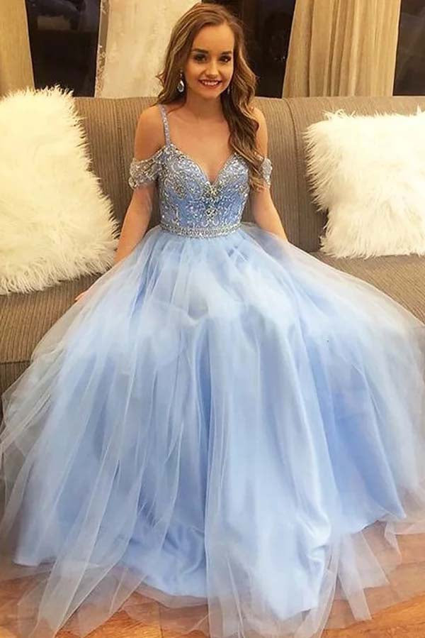 Sweetheart Spaghetti Straps Tulle With Beading  Prom Dress P641