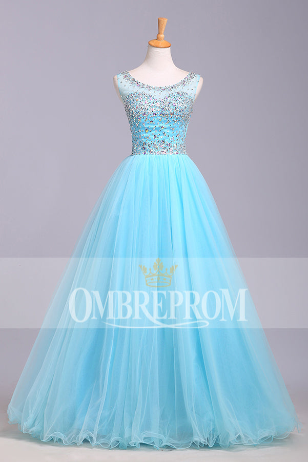 Chic Round Neck Blue Tulle Sleeveless With Beading Prom Dress P757