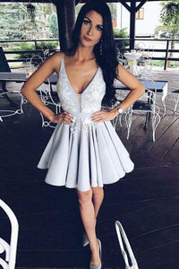 Light Lavender Deep V Neck Short Prom Dress,Sleeveless Appliques Cheap Homecoming Dress H178
