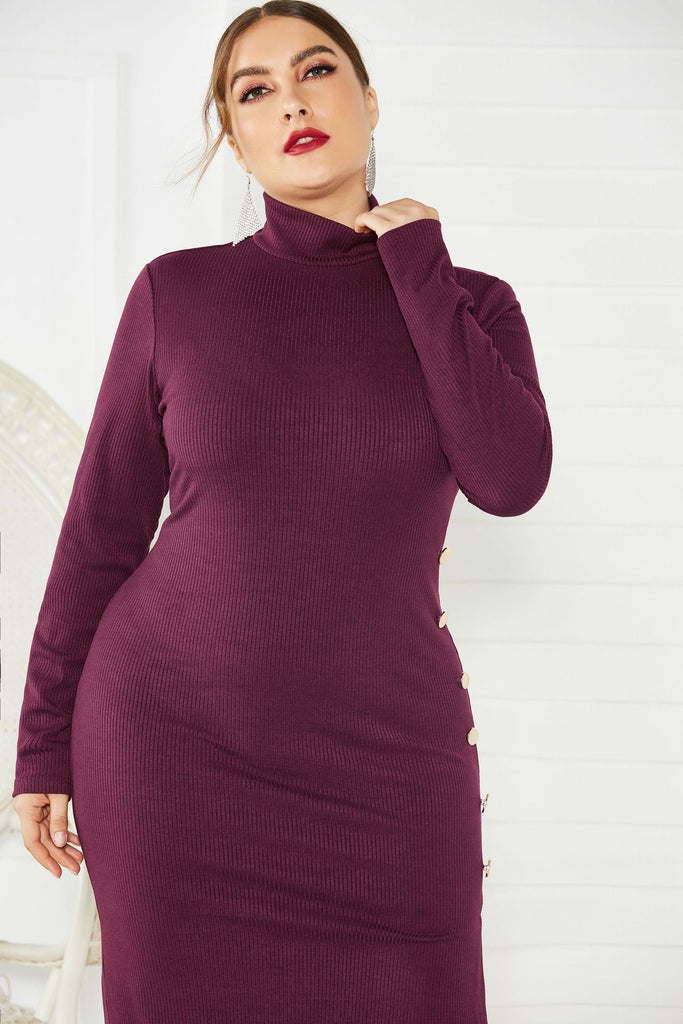 Sexy Plus Size Side Slit Sweater Dress Long Sleeve Stretch Mermaid Knit Dresses FP8001