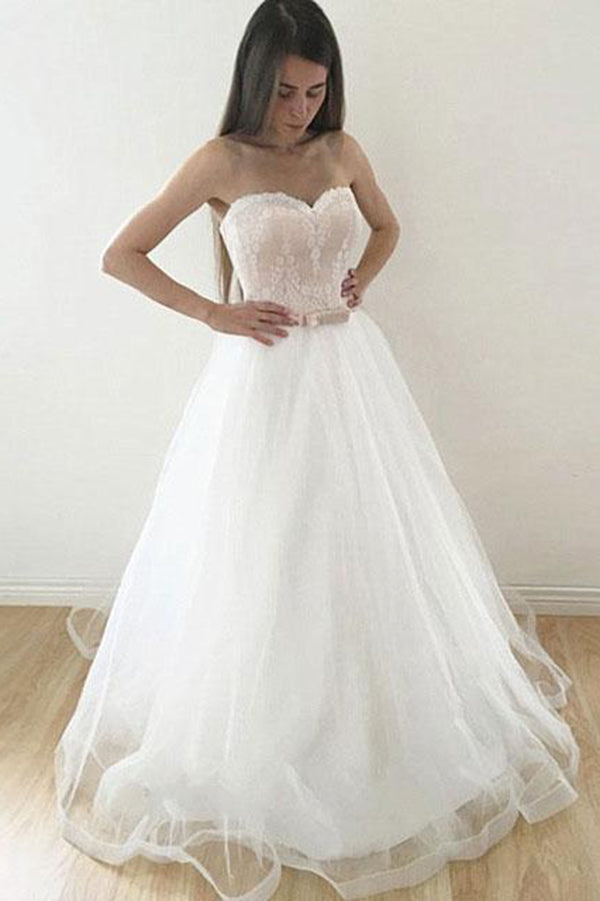 Cheap Sweetheart Strapless A Line Tulle With Bowknot Wedding Dresses W375
