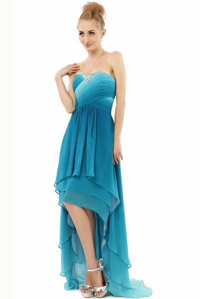 Ombre A Line Asymmetrical Sweetheart Sleeveless Mid Back Prom Dress ...