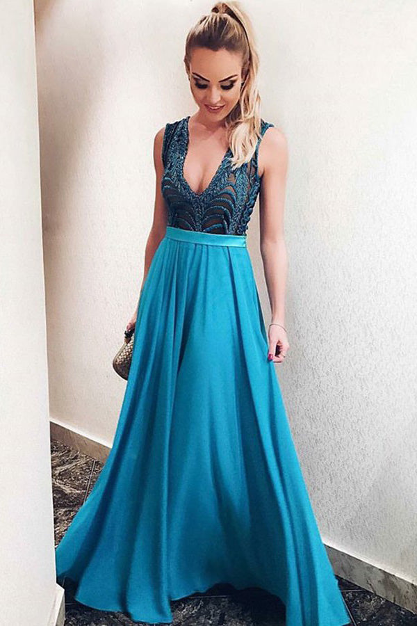 Elegant Blue Satin V Neck Open Back Sleeveless Prom Dress P717
