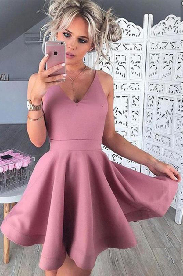 A-Line Satin Classy Pink Sleeveless Homecoming Dress M447 - Ombreprom