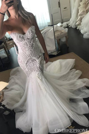 Delicate Sweetheart Sleeveless Tulle Appliques Mermaid Wedding Dresses W593