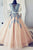 V Neck Tulle Lace Party Dresses Long Prom Dresses Ball Gown with Appliques P924