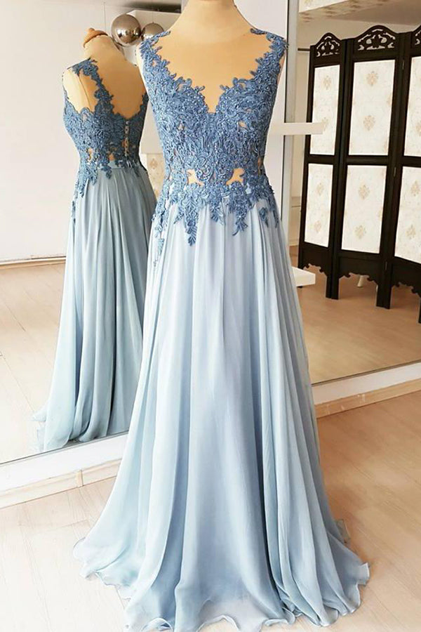 Cheap Chiffon Light Blue Lace Appliques Long Formal Prom Dress P740
