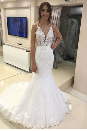 Delicate Spaghetti Straps Mermaid Sleeveless V Neck Wedding Dresses W516
