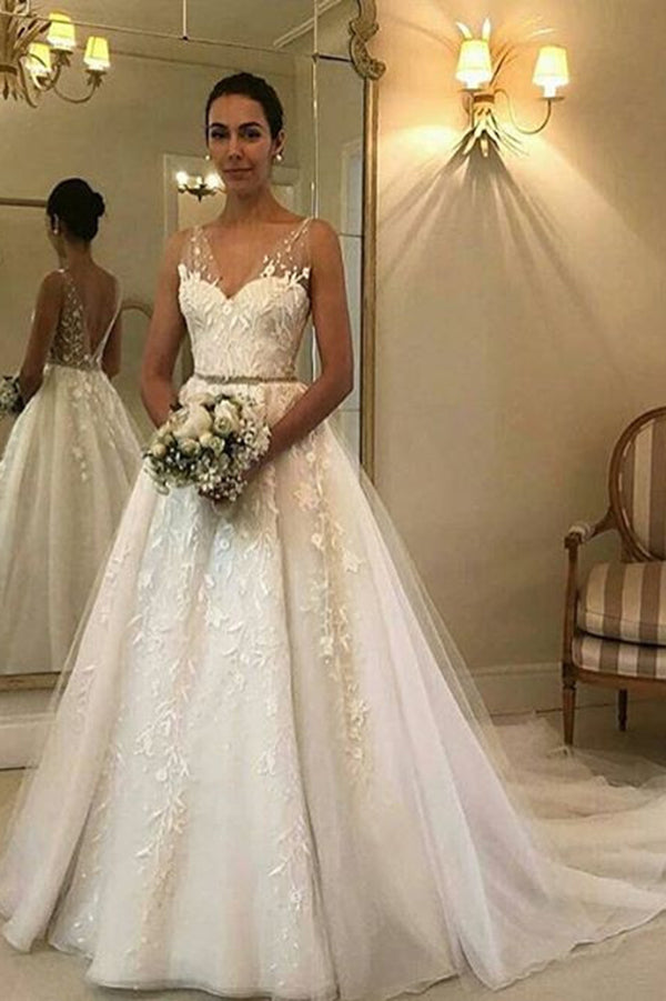 Simple Sweethert Tulle Sleeveless With Lace Appliques Wedding Dresses W344