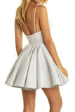 A-line Deep V Neck Short Prom Dress,Sleeveless Appliques Cheap Homecoming Dress H178