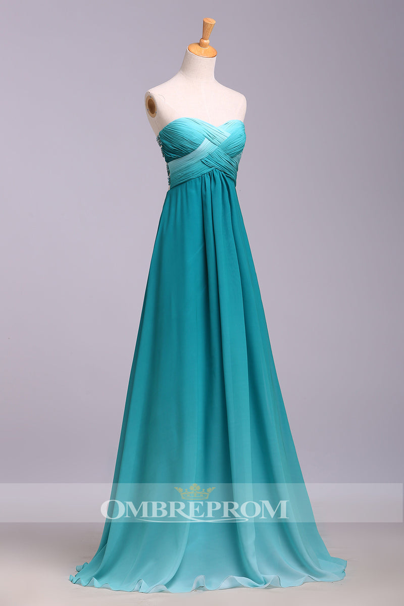 Delicate Ombre Sweetheart Strapless Pleats Chiffon Floor Length Prom Dress P765