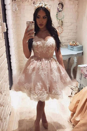 Pink A-Line Sleeveless Off-the-Shoulder Knee-Length Homecoming Dresses with Lace M287