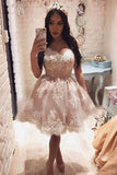 A-Line Sleeveless Off-the-Shoulder Knee-Length Homecoming Dresses with Lace M287