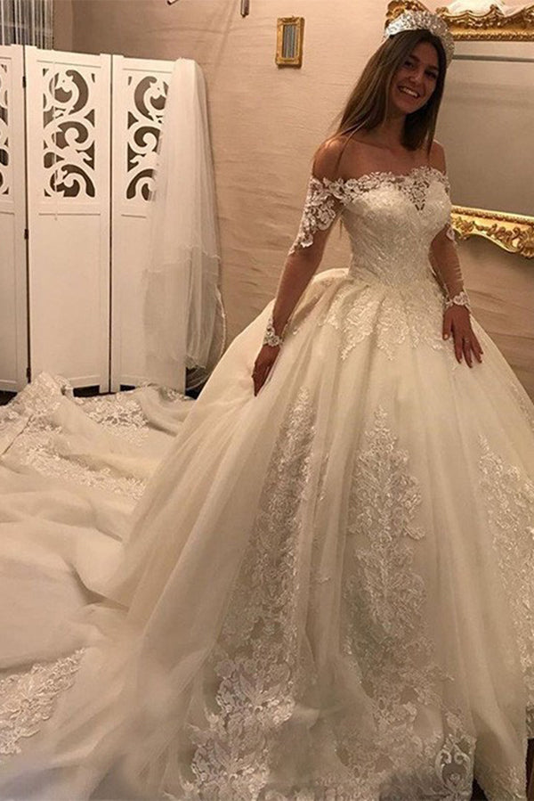 Off Shoulder Long Sleeves Open Back Lace Wedding Dress With Chapel