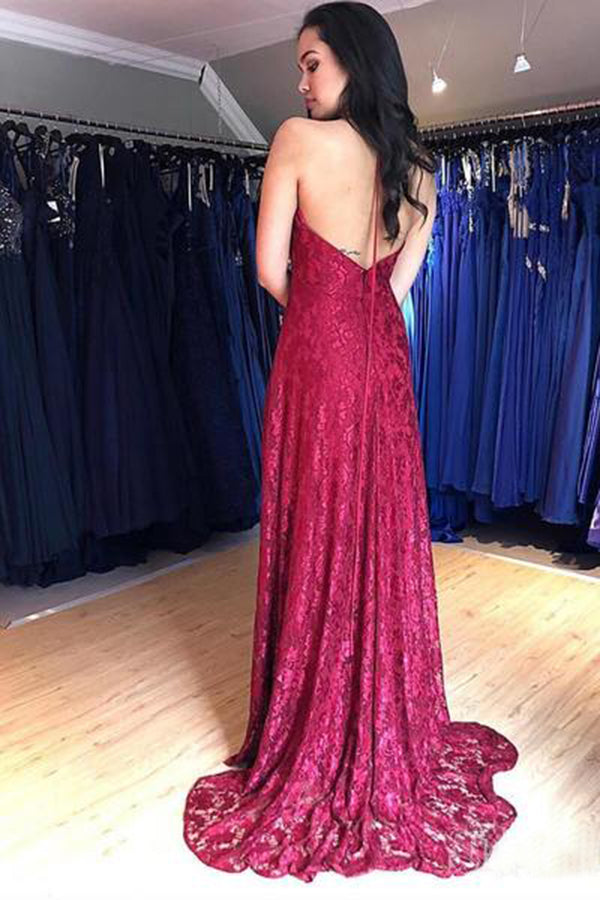 Burgundy Halter Sleeveless Floor Length Prom Dresses with Split Side P966