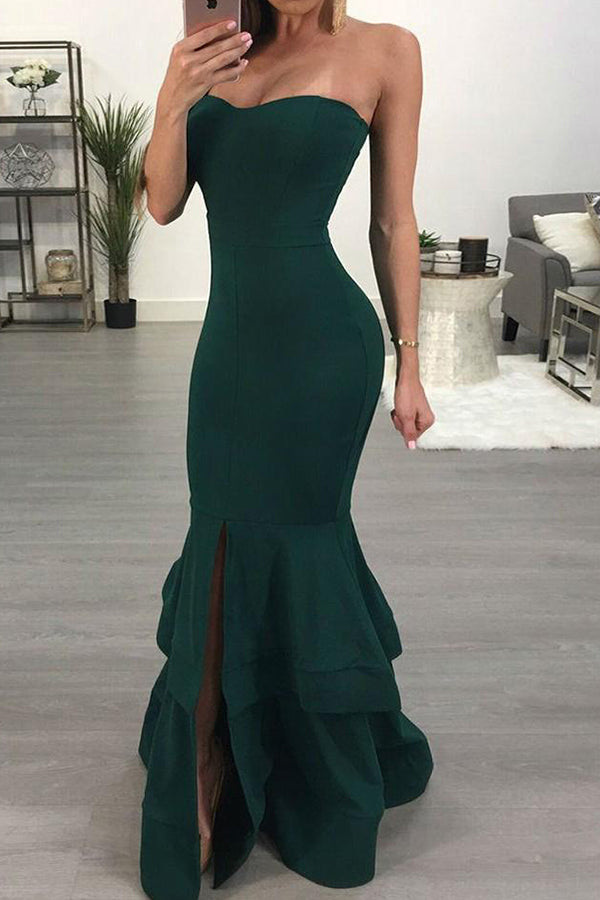 Dark Green Sweetheart Mermaid Prom Dress with Split Side P903