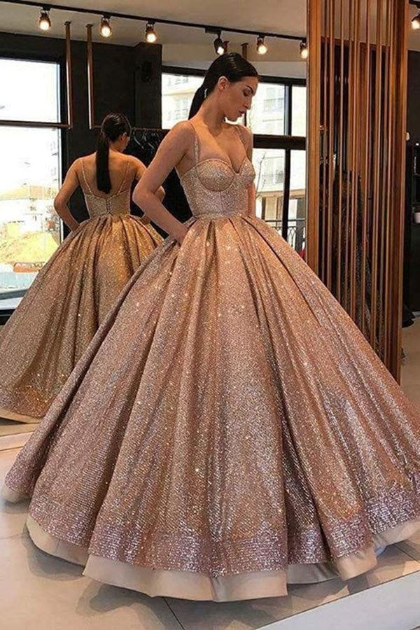 Elegant Spaghetti Straps Prom Dress Ball Gown Sequins A Line Party Dress P872