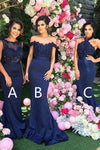 Charming Mermaid Trumpet Navy Blue Sleeveless Bridesmaid Dress B420 - Ombreprom