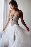 Charming Sweetheart Sleeveless Beaded With Split Formal Prom Dress P800