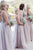 Sparkly V Neck Backless Beading Tulle A-line Long Modest Bridesmaid Dresses For Wedding B457