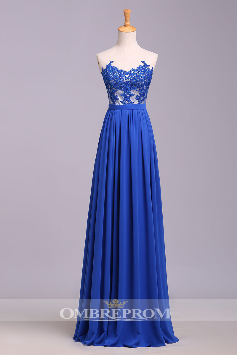 Elegant Chiffon Floor Length Backless With Lace Appliques Prom Dress P763