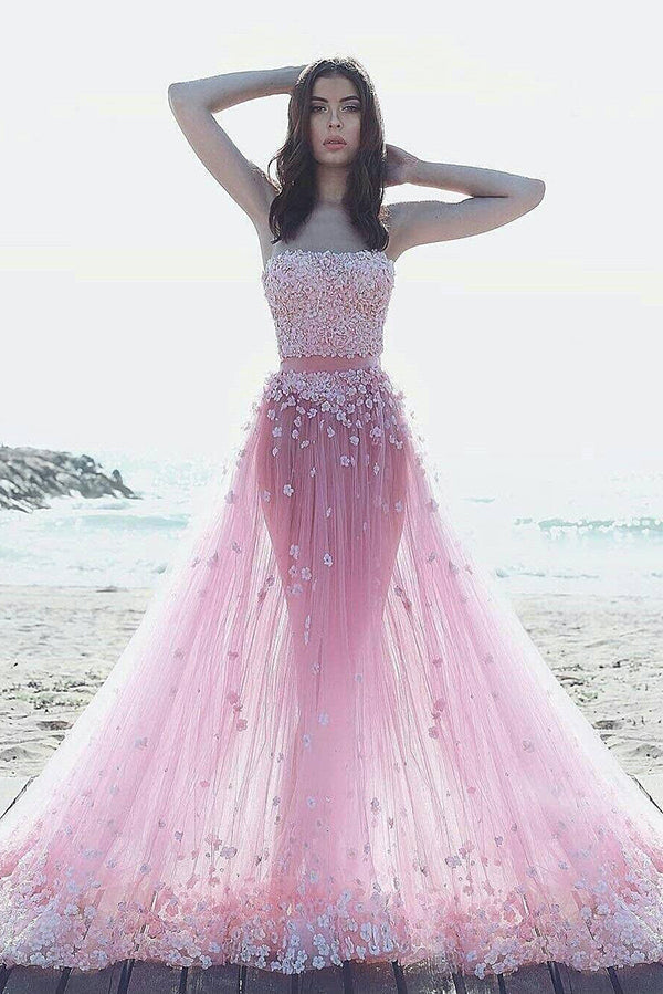 Unique Pink Tulle Strapless Sweep Train With Appliques Long Prom Dress P795