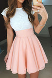 Elegant Short Sleeves Round Neck Knee Length Homecoming Dress M479