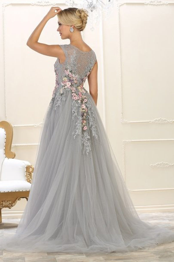 Elegant Round Neck Sleeveless Handmade Flower With Appliques Long Prom Dress P794