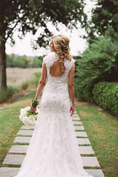 Chic Open Back Cap Sleeves V Neck Lace Wedding Dresses W333