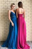 Chic Spaghetti Straps V Neck Low Back Lace Prom Dress D365