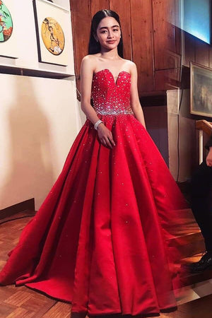 3735e59f83c Red Satin Sleeveless Sweetheart Prom Dresses Ball Gowns with Beading P981