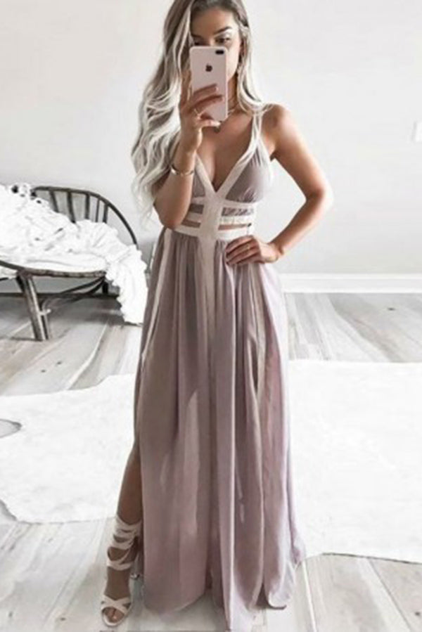 Elegant Straps V Neck Sleeveless Prom Dress with Split Side P909