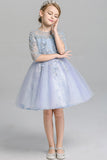 Cute Half Sleeves Round Neck Lace Tulle Appliques Flower Girl Dresses F86