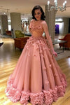 Gorgeous Long Prom Dresses Sleeveless Ball Gown with Flower Appliques P941