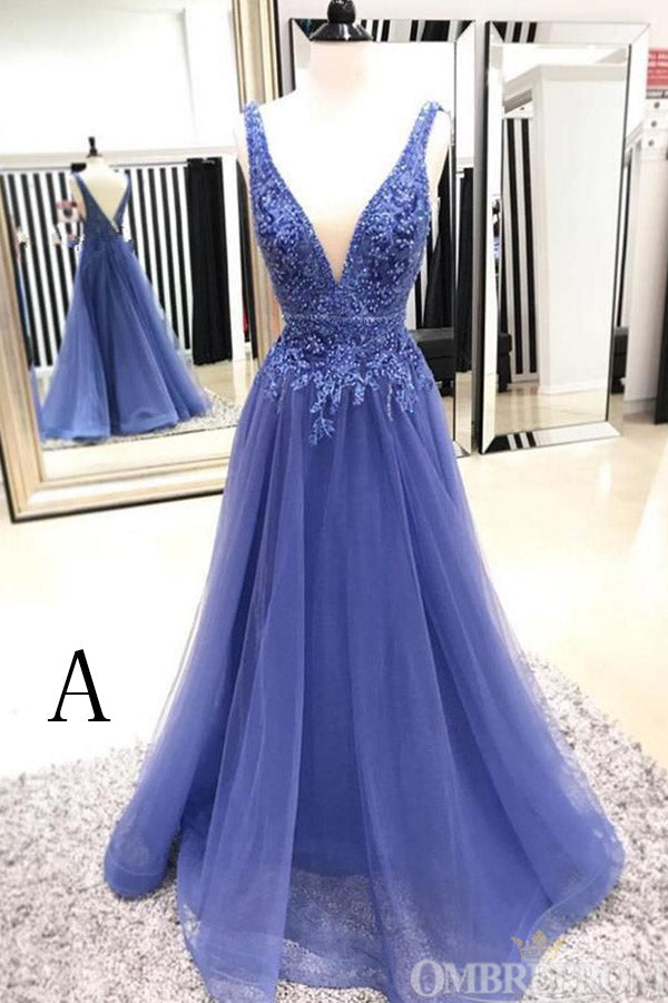 Simple V Back Sleeveless Lace Appliques Tulle Long Prom Dress D40