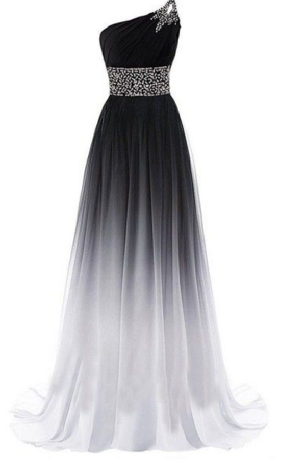 Simple One Shoulder Chiffon Ombre Prom Dresses with Beading P965