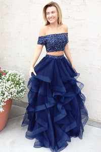 Navy Blue Two Piece A Line Floor Length Off Shoulder Ruffles Long Prom Dress,Party Dress