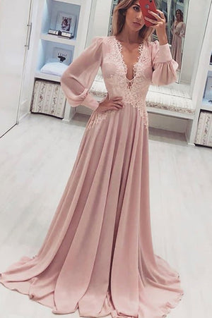 91ca393f46 Simple Deep V Neck Lace Prom Dress with Long Sleeves Party Dress P881