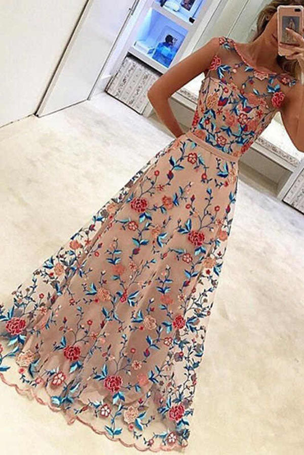 Chic Round Neck Tulle Sleeveless Prom Dress Long Party Dress with Embroidery P961