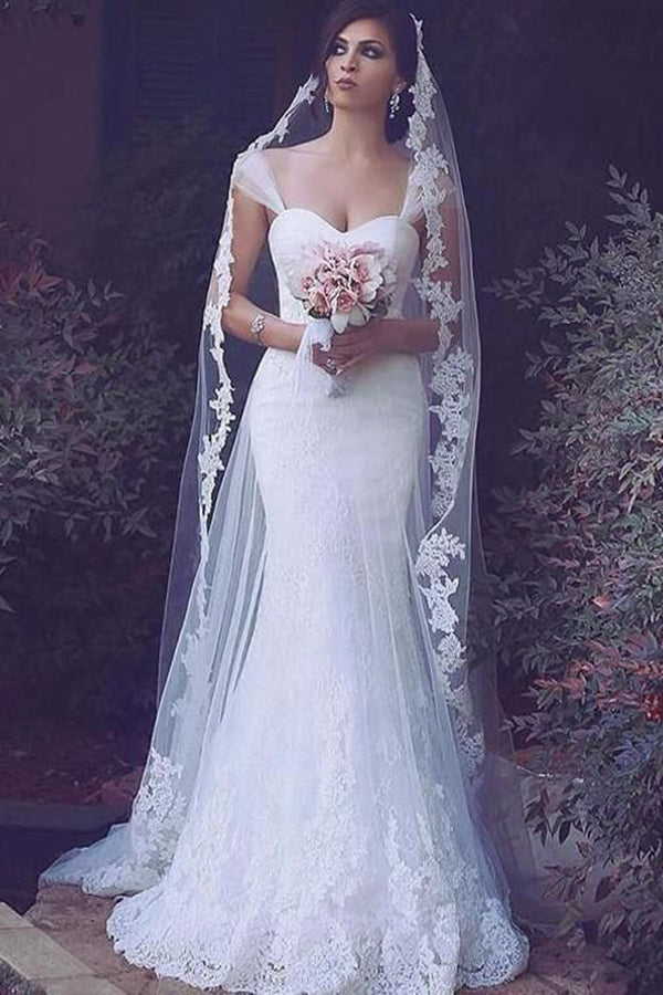 Gorgeous Sweetheart Sleeveless Mermaid Lace Wedding Dress with Appliques W547
