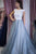 Delicate Round Neck Cap Sleeves Lace A Line Long Prom Dress P934