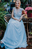 Gorgeous Cap Sleeves A Line Round Neck V Back Chiffon Prom Dress P792