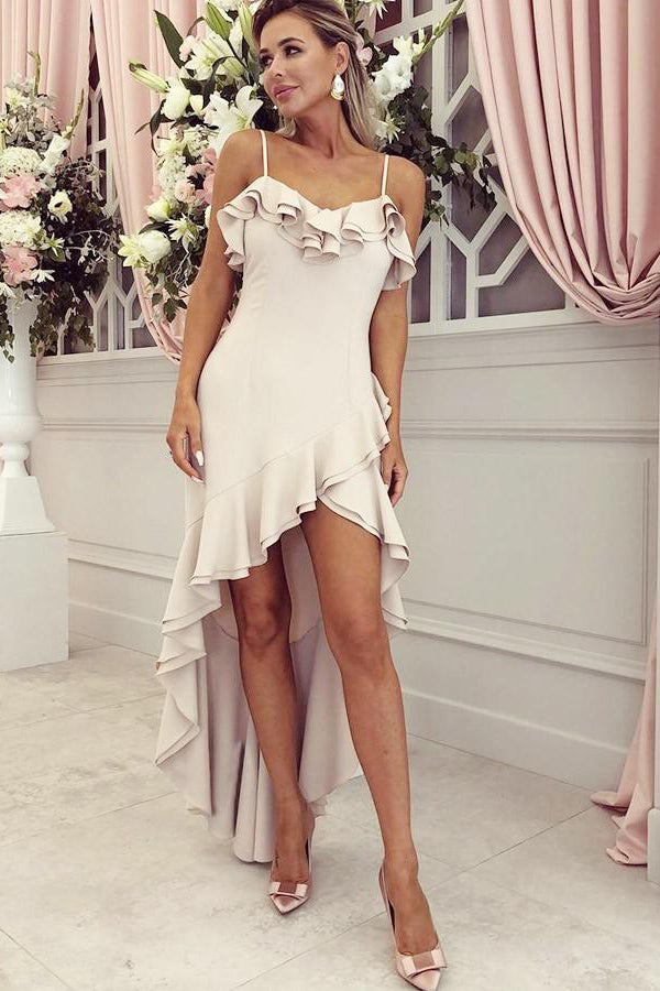 Spaghetti Straps High Low Sleeveless Party Dress Bridesmaid Dress with Ruffles B464