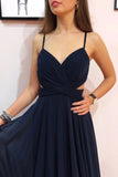 Simple Dark Blue Chiffon Long Prom Dress Cut Out Sexy Evening Dress D430