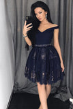Black Off Shoulder Homecoming Dresses,Lace Appliques Short Prom Dress H177 - Ombreprom