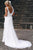 White A Line Court Train Sleeveless Mid Back Cheap Wedding Gown,Beach Wedding Dress W154