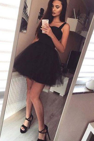 Black Square Homecoming Dress,Layers Tulle Open Back Short Prom Dress H187 - Ombreprom
