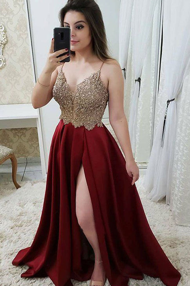 Spaghetti Straps V Neck A Line Lace Prom Dress with Split Side P937