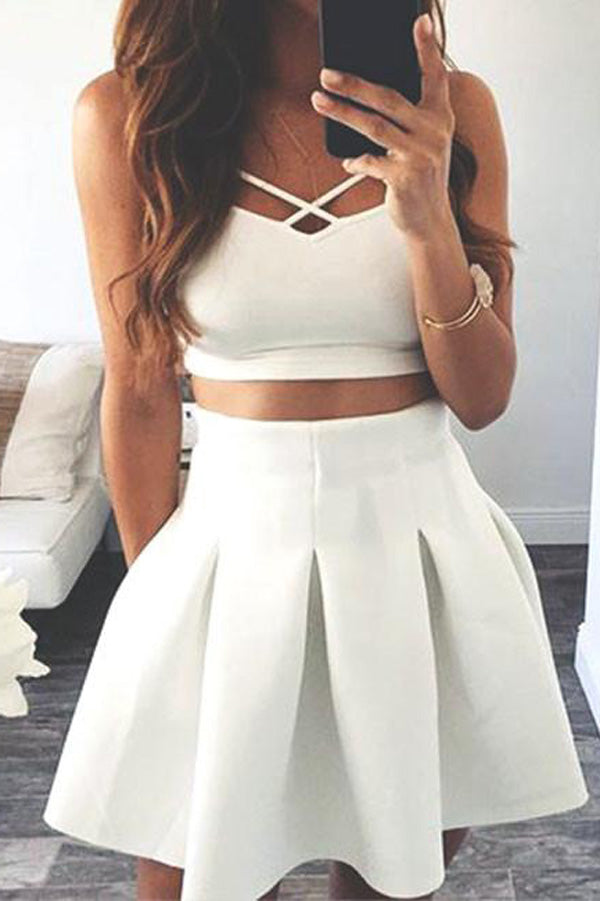 White Two Piece Homecoming Dress,Open Back Short Prom Dress
