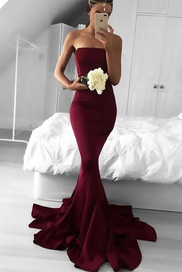Charming Mermaid Strapless Burgundy Brush Train Ruffles Prom Dress P751 - Ombreprom